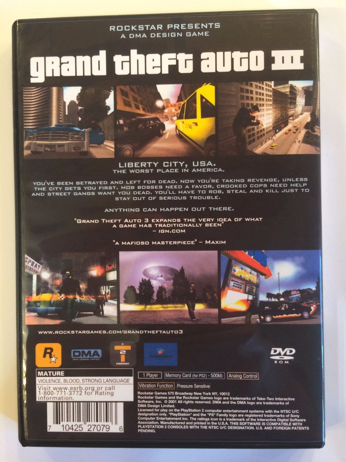 Grand Theft Auto III - Playstation 2 - Replacement Case - No Game