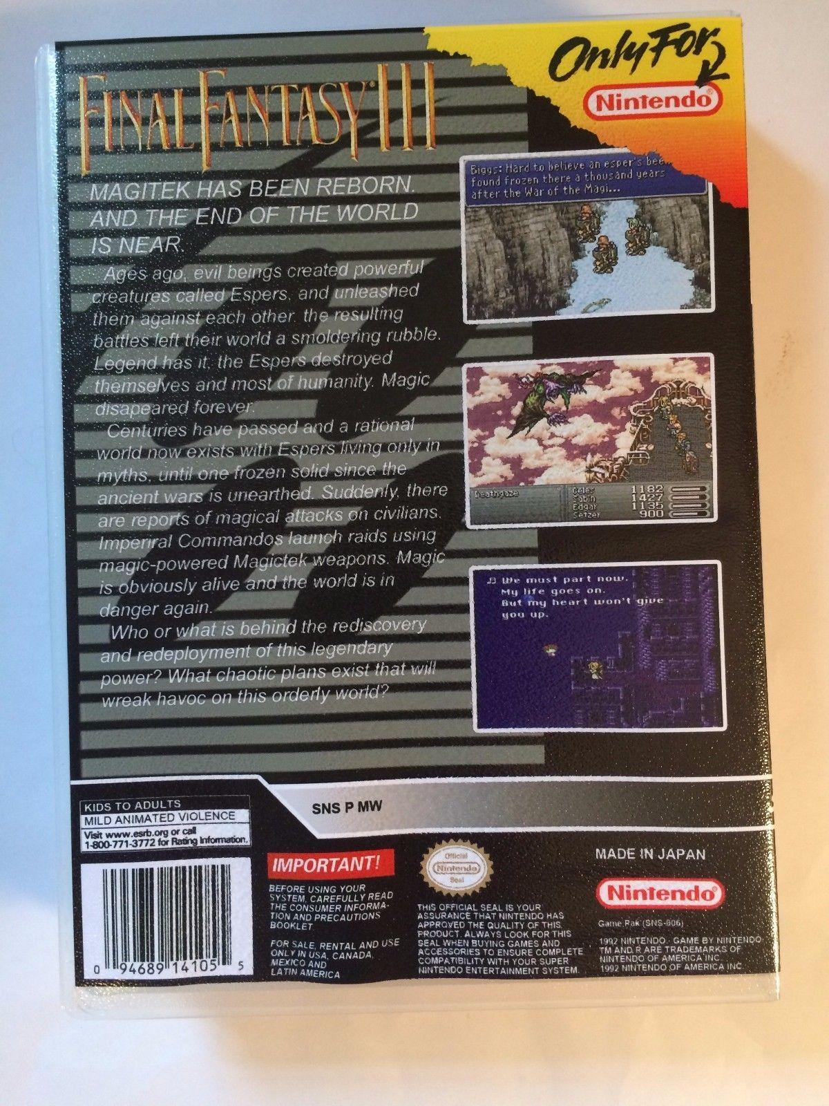 Final Fantasy III - Super Nintendo - Replacement Case - No Game