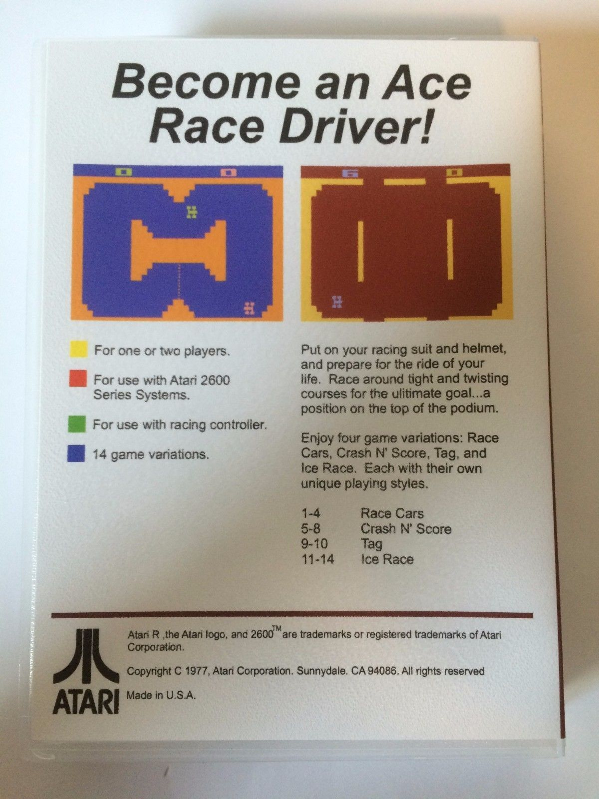 Indy 500 - Atari 2600 - Replacement Case - No Game