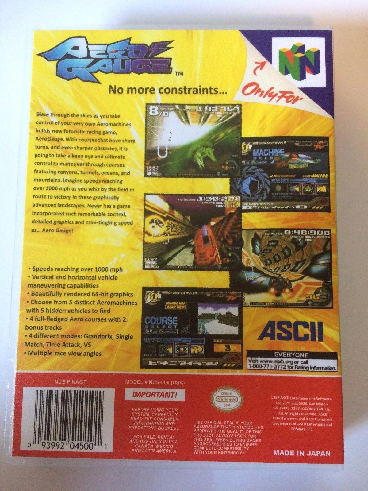 Aero Gauge - Nintendo 64 - Replacement Case - No Game