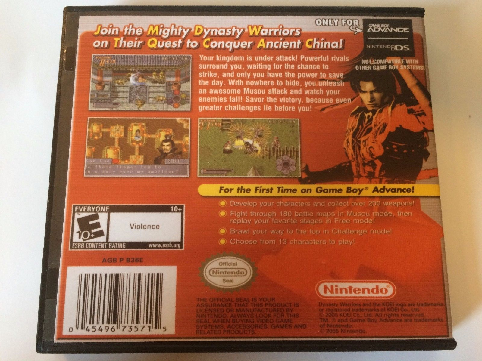 Dynasty Warriors Advance - GBA - Replacement Case - No Game