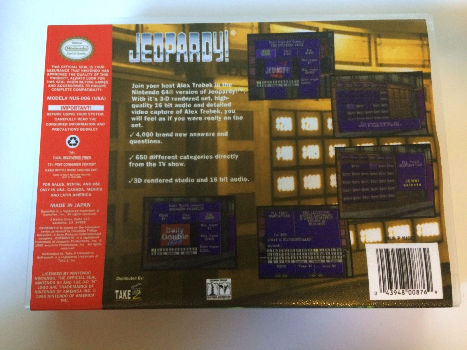 Jeopardy! - Nintendo 64 - Replacement Case - No Game