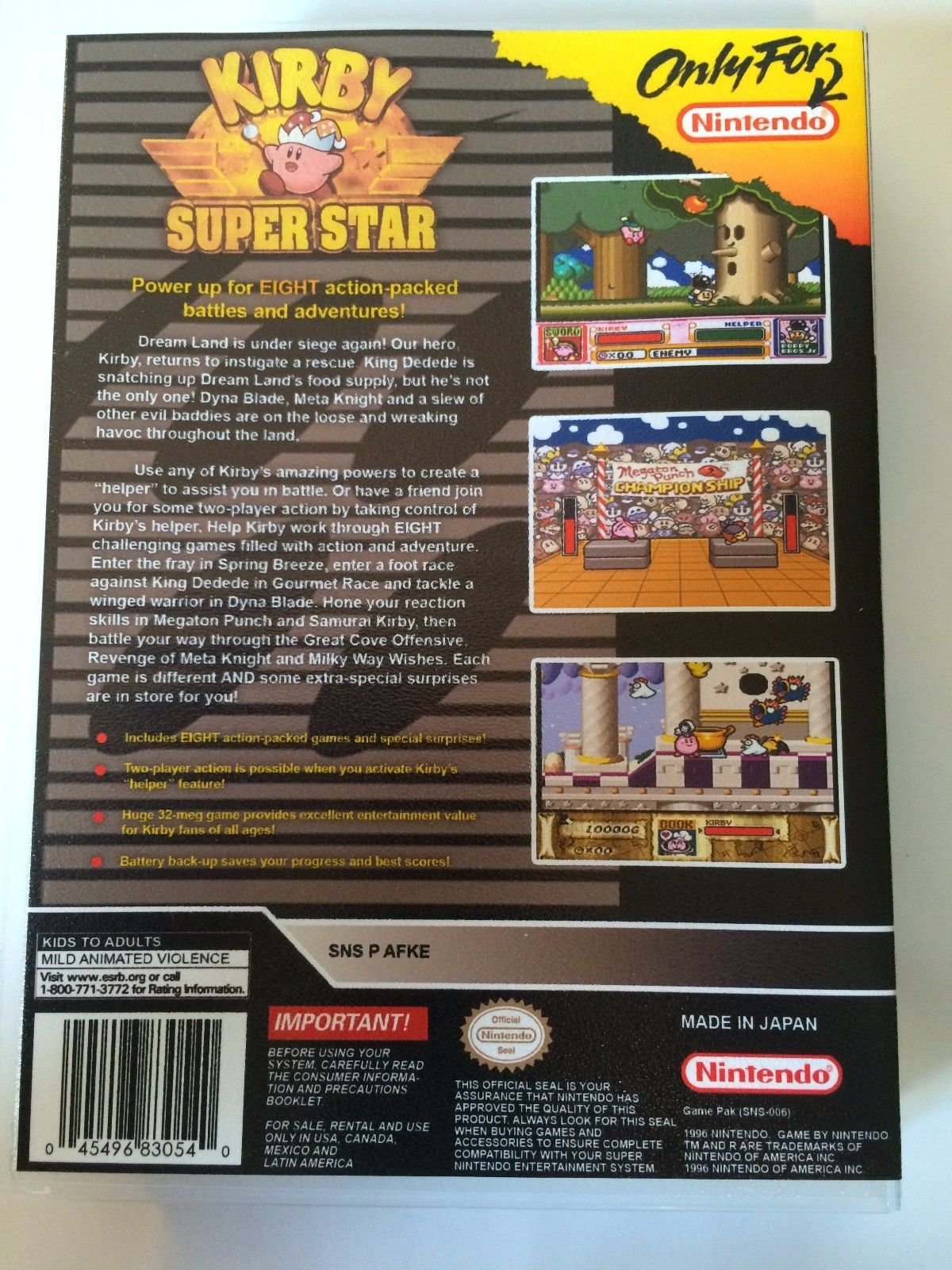 Kirby Superstar - Super Nintendo - Replacement Case - No Game