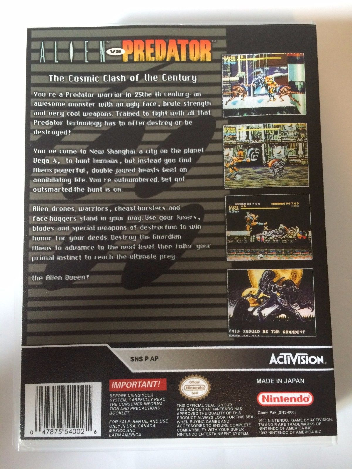 Alien vs Predator - Super Nintendo - Replacement Case - No Game