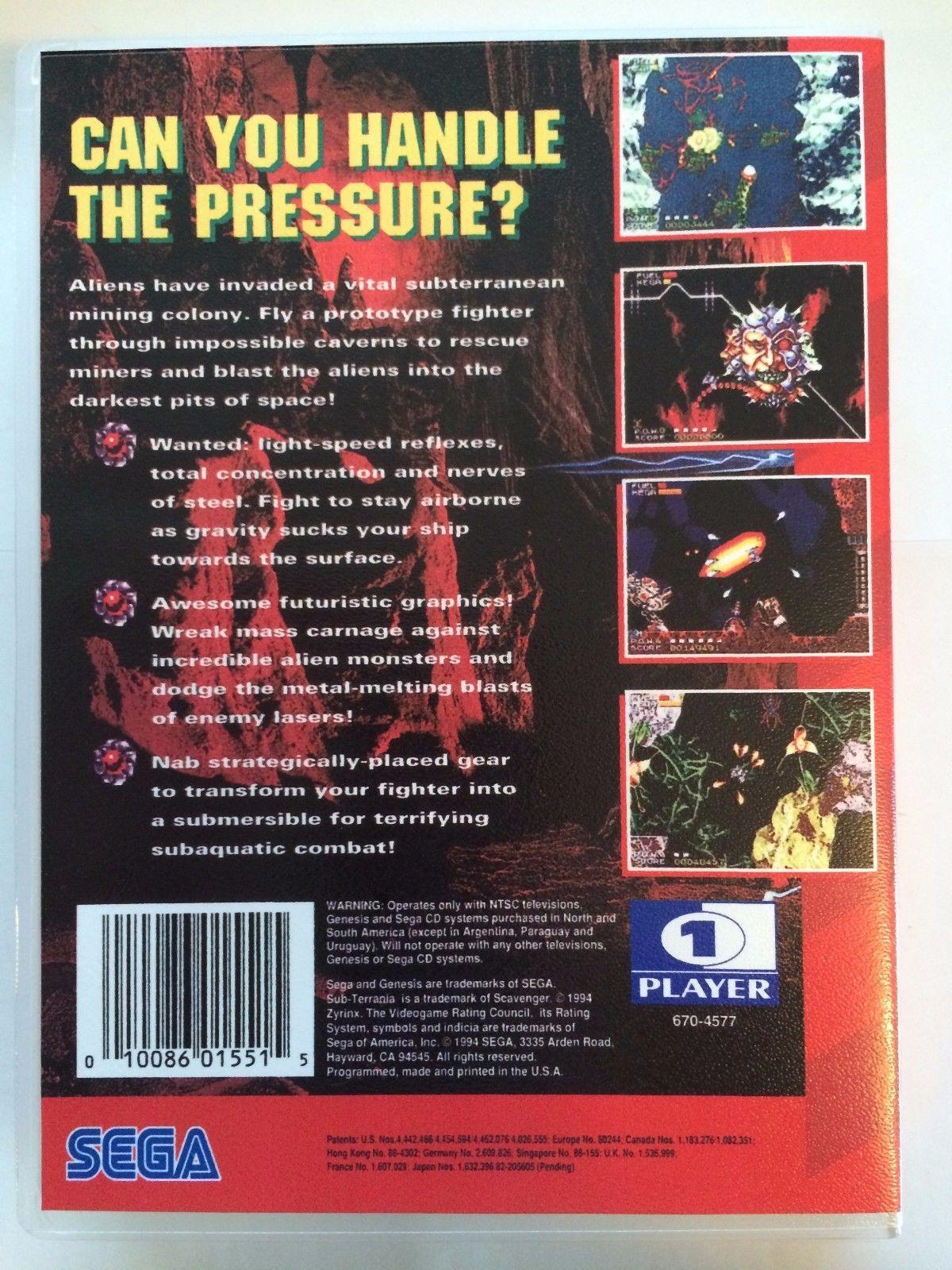 Sub Terrania - Sega Genesis - Replacement Case - No Game