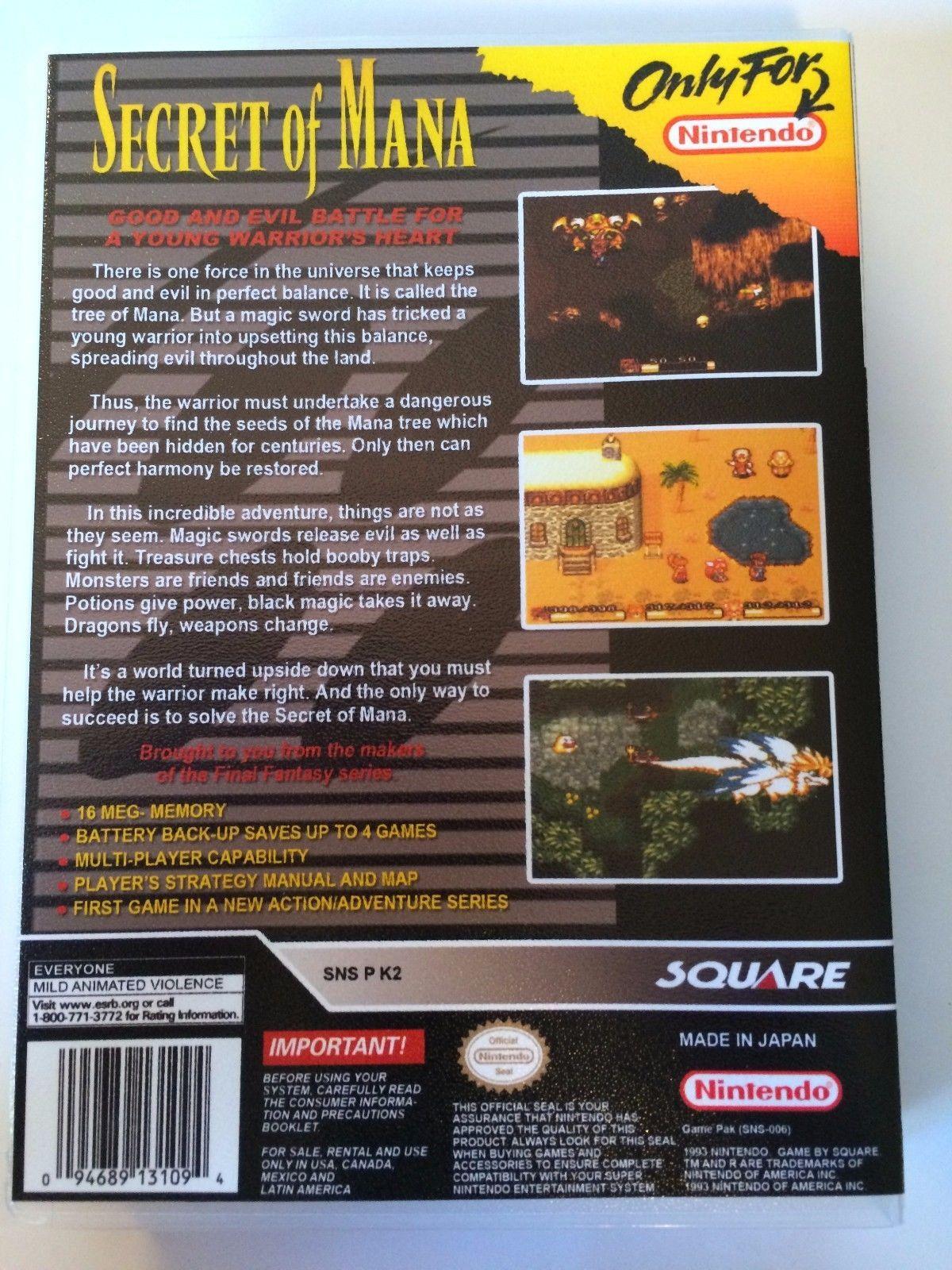 Secret of Mana - Super Nintendo - Replacement Case - No Game