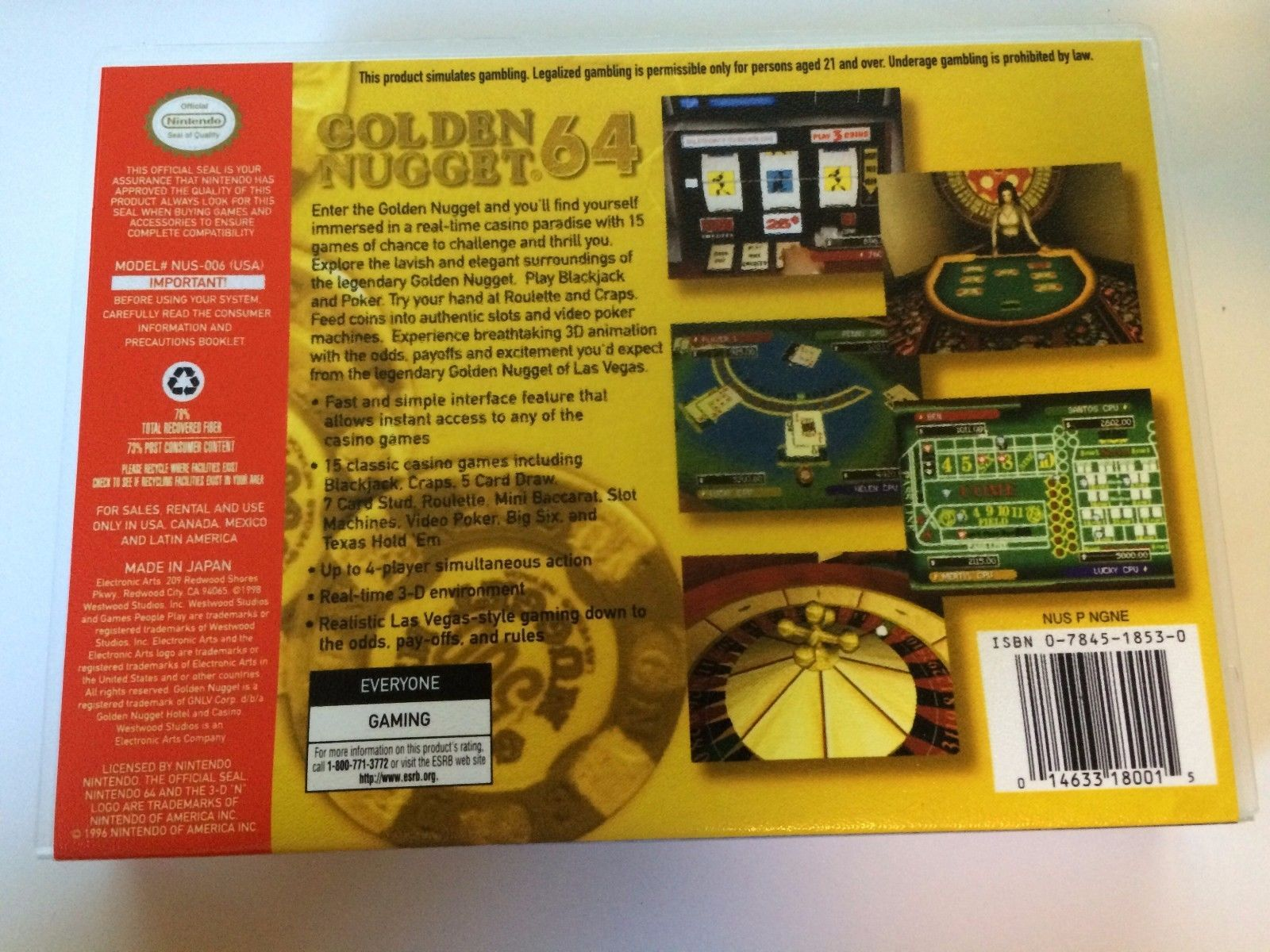 Golden Nugget 64 - Nintendo 64 - Replacement Case - No Game