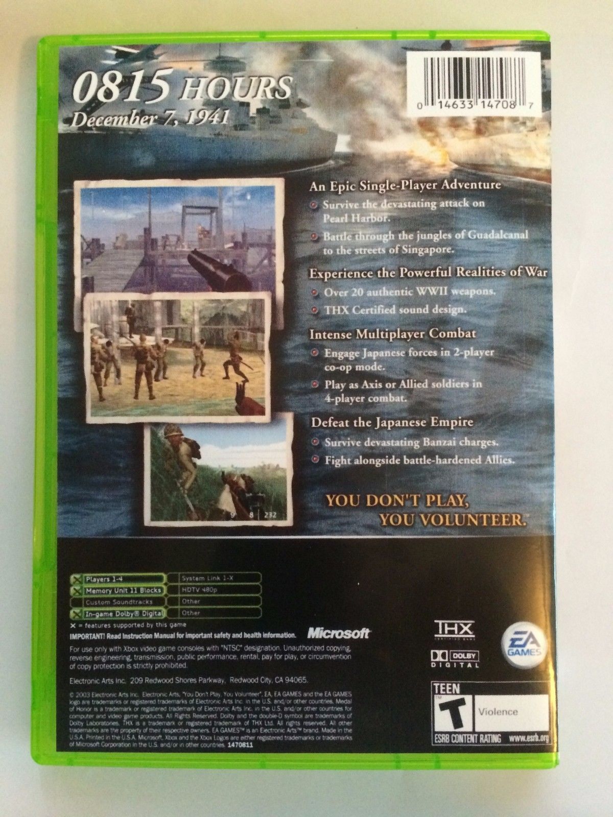 Medal of Honor Rising Sun - Xbox - Replacement Case - No Game