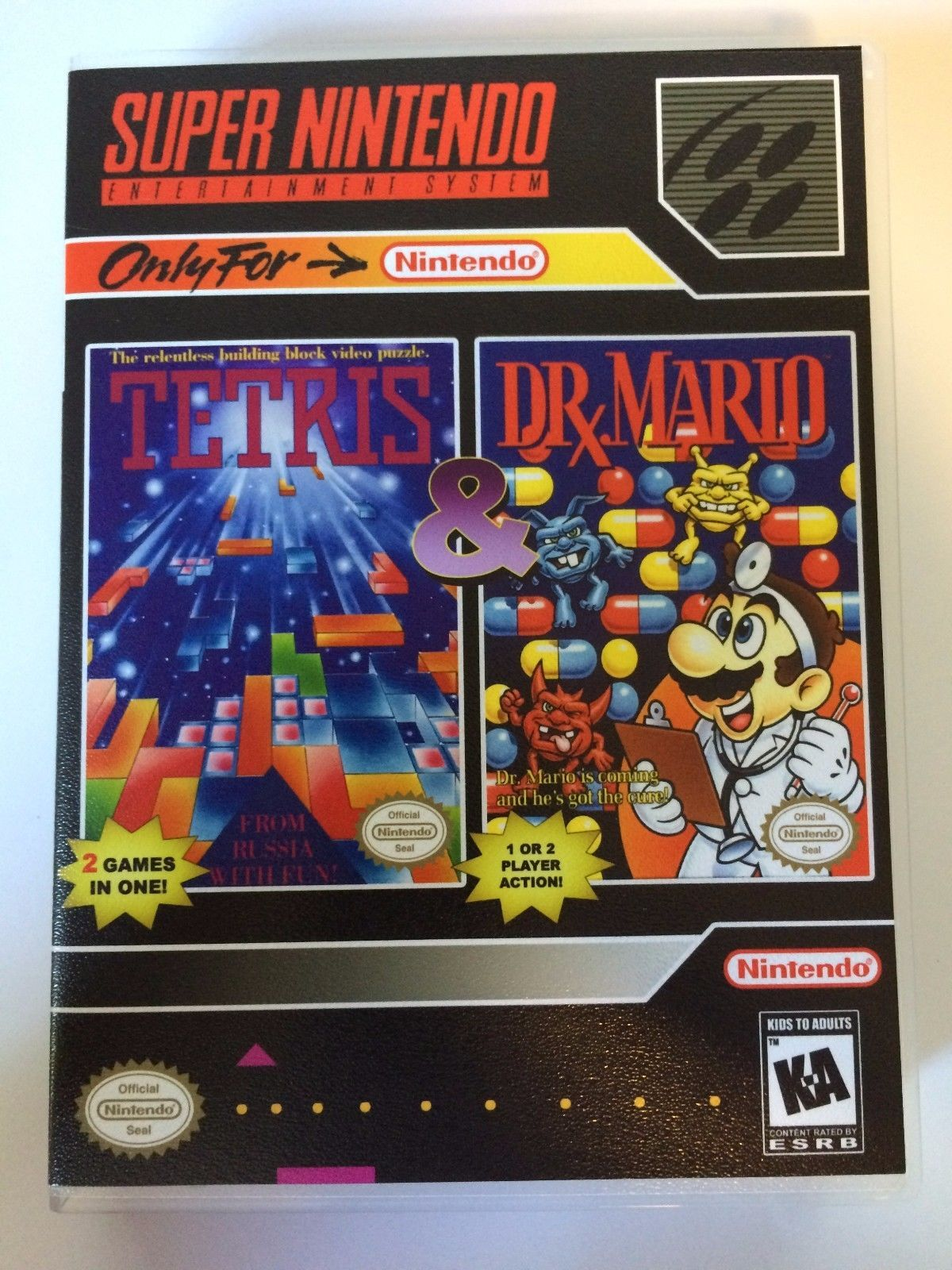 Tetris and Dr. Mario - Super Nintendo - Replacement Case - No Game