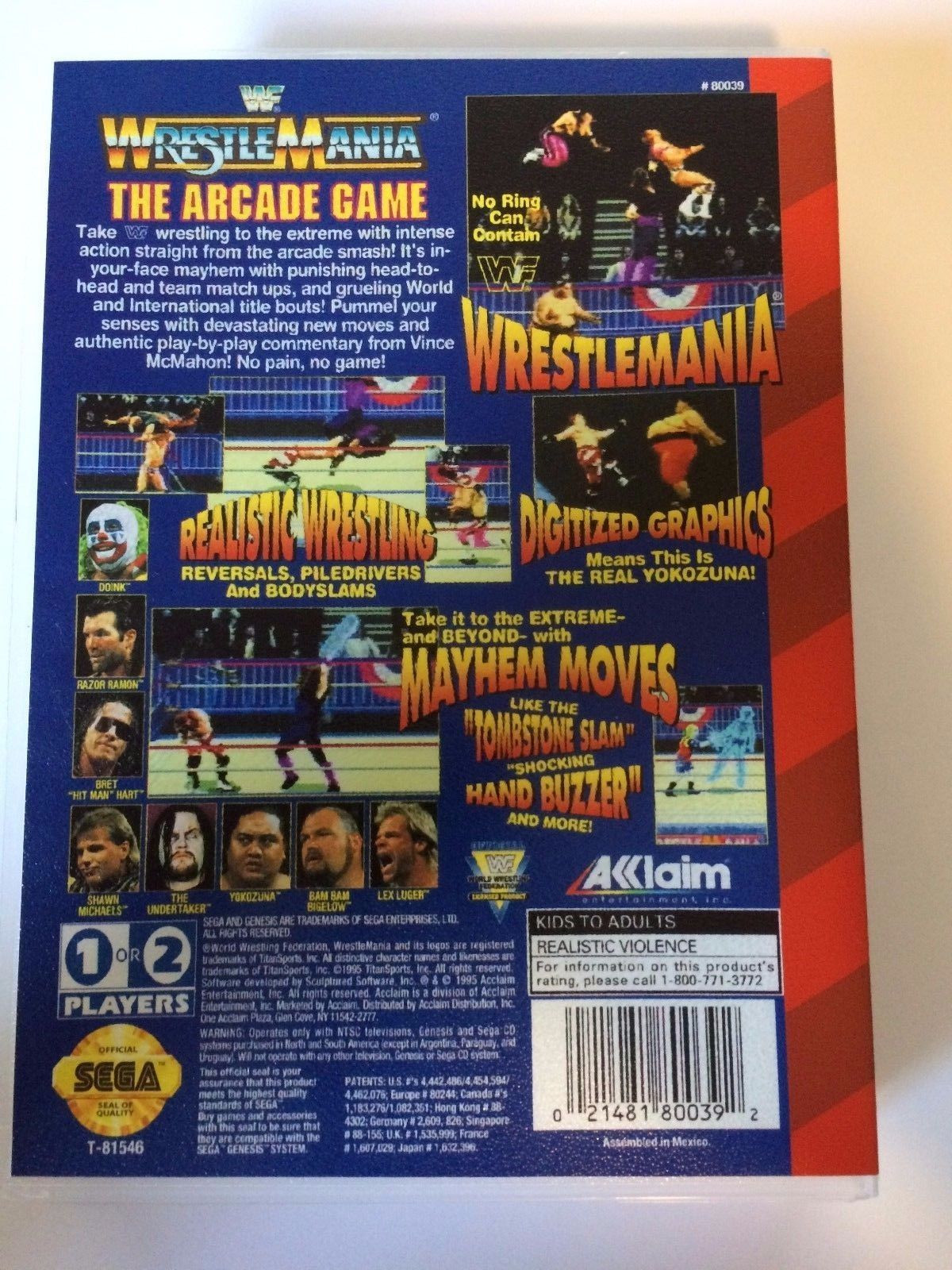 WWF The Arcade Game - Sega Genesis - Replacement Case - No Game