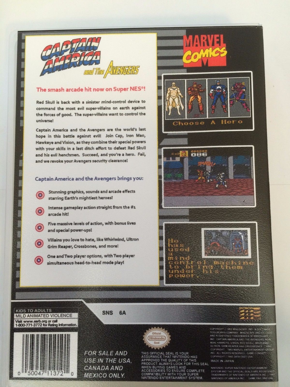 Captain America and The Avengers - Super Nintendo - Replacement Case - No Game