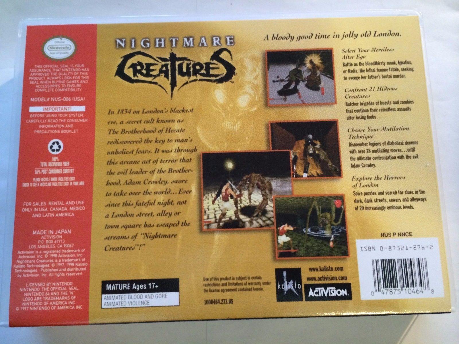 Nightmare Creatures - Nintendo 64 - Replacement Case - No Game