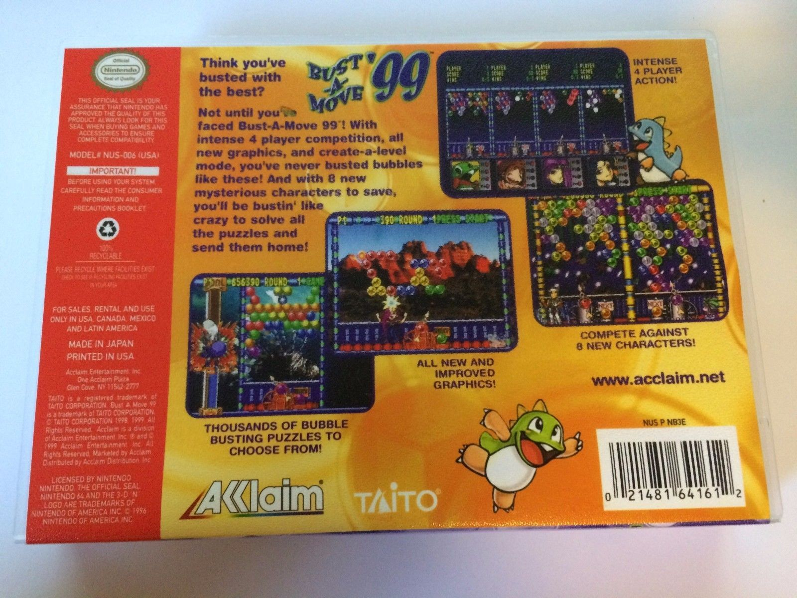 Bust A Move '99 - Nintendo 64 - Replacement Case - No Game