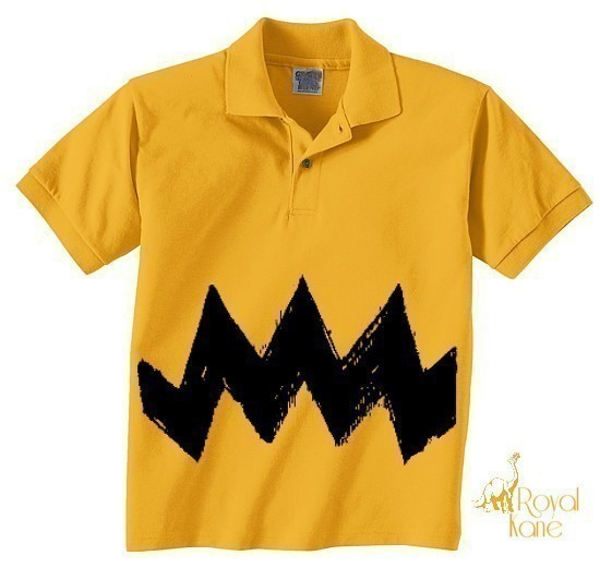 XL 18-20 Retro NEW Charlie Yellow Zig Zag kids boys girls peanuts FUNNY brown un