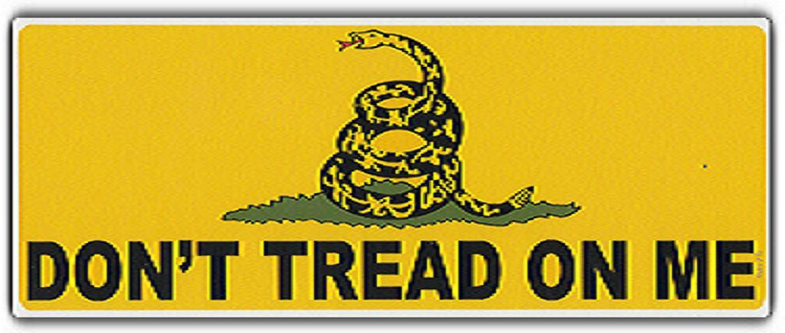 DON'T tread on Me Gadsden Yellow 2 X 3 FT FLAG W/LAPEL PIN AND BUMPER STICKER