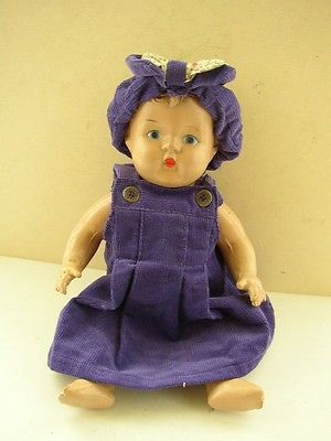 Vintage, 12-Inch Dark Skinned Composition  Doll in Purple Dress