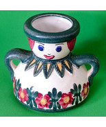 "Very Cute 6"" Hand Painted Ceramic Handled Figurine Vase With Flowers - $1.95"