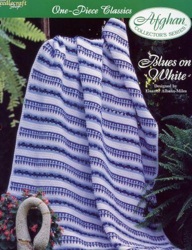 Blues on White One-Piece Afghan TNS Crochet Pattern