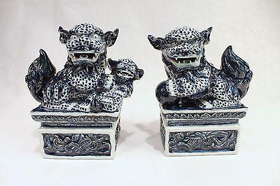 "Vintage Style Pair Blue and White Handmade Porcelain Figurine Pedestal 6"""