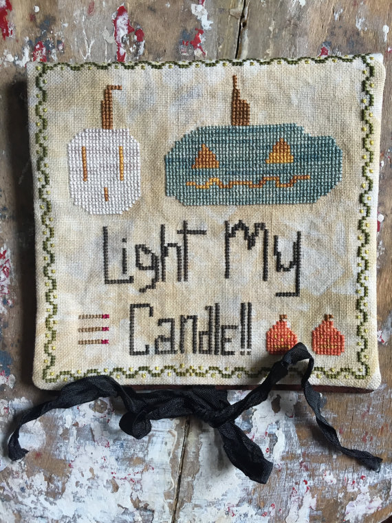 Light My Candle needlebook halloween cross stitch chart Death by Thread