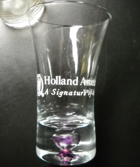 Primary image for Holland America Line Shot Glass Flared Style Clear Glass Lavender Bubble in Base