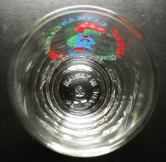 Cayman Islands Shot Glass Colorful Peg Leg Turtle Pirate on Clear Glass