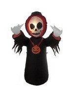 NEW Halloween Inflatable Grim Reaper Skeleton Skull Face - Yard/Lawn Dec... - $54.42