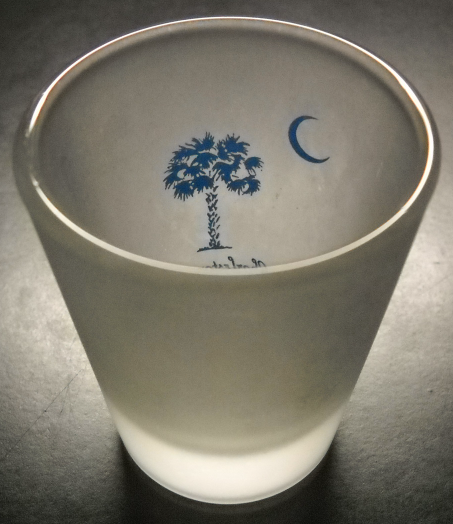 Charleston South Carolina Shot Glass Frosted Glass with Blue Palm Cresent Moon