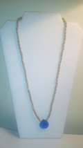 Handmade Long Wood Beaded Necklace With Blue Glass Pendant - $5.50