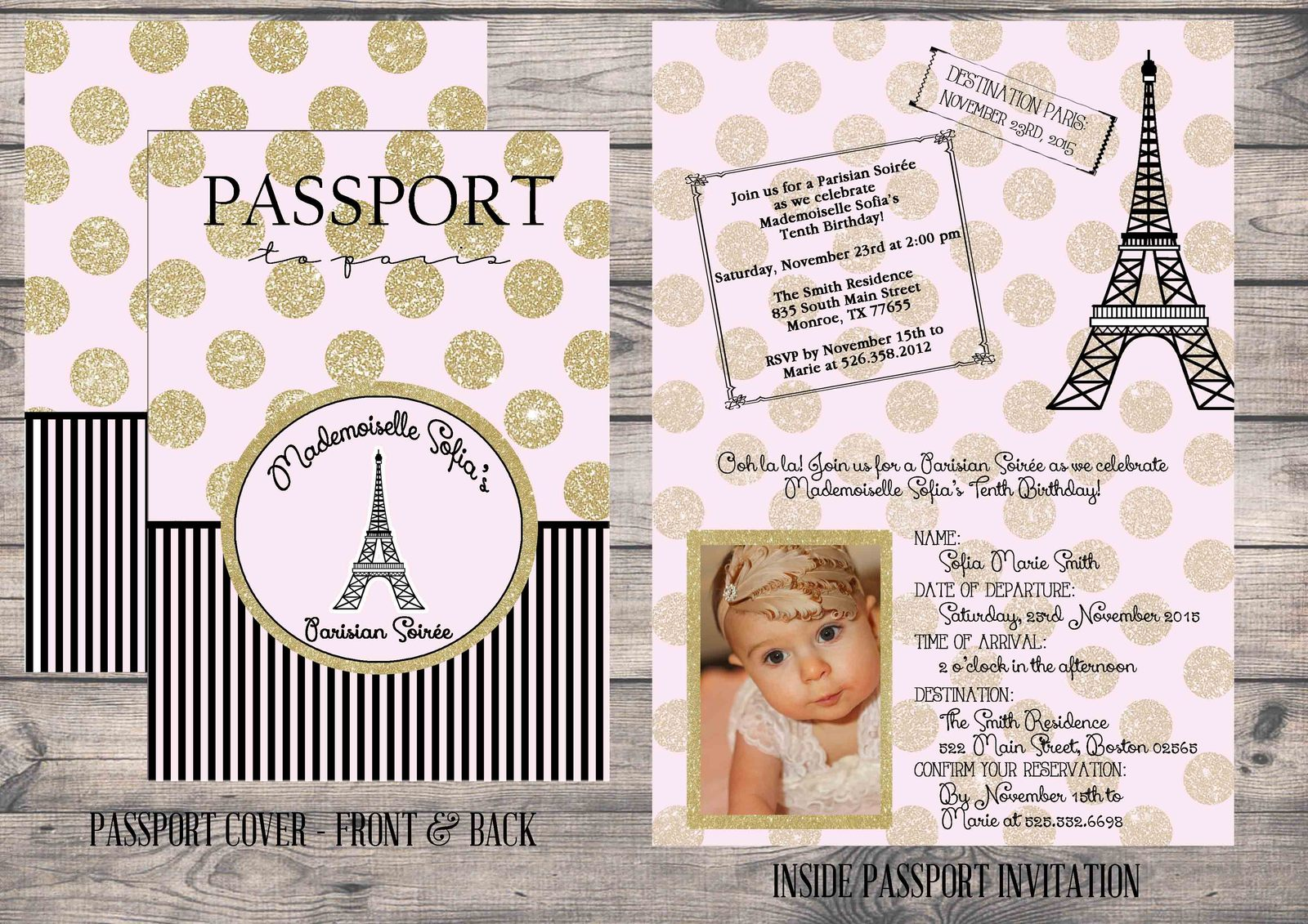 Gold glitter paris passport invite