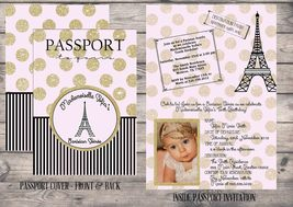 Gold Glitter Pink Paris Passport Invitations, Any Occasion, Personalized - £1.00 GBP