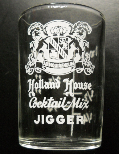 Hazel Atlas Holland House Cocktail Mix Jigger Glass Clear Glass with White Print