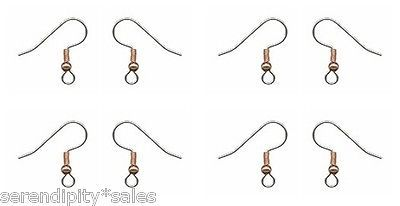 36 Surgical Steel EarWires Earrings Ear Wires ~ Copper Ball + Coil French Hooks