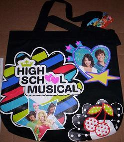 High School Musical HSM Cast Black Canvas TOTE Book Bag + Folder NEW Zac EFRON Generic