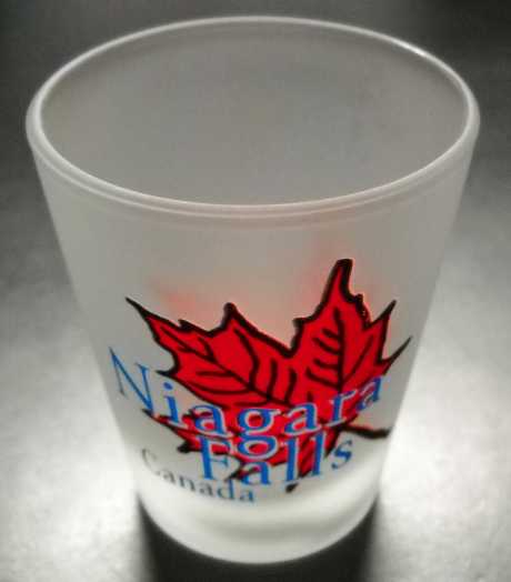 Niagara Falls Canada Shot Glass Frosted Glass with Red Maple Leaf and Blue Print