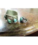 EARLY TO MID 1900'S CUFF BRACELET AND RING. TURQUOISE STONES NAVAJO DESIGN. - $175.00