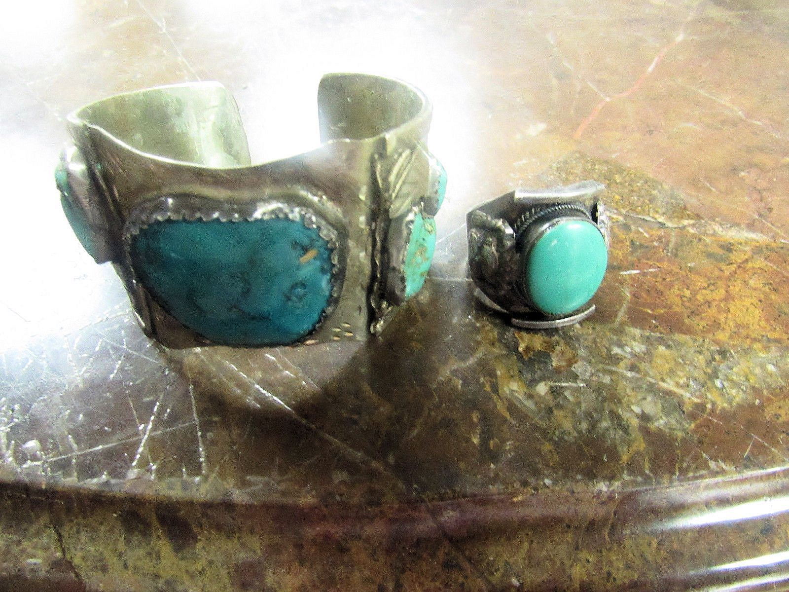 EARLY TO MID 1900'S CUFF BRACELET AND RING. TURQUOISE STONES NAVAJO DESIGN.
