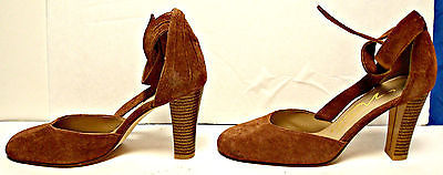 Brown Suede Heels w/Tie Ankle Straps by Easy Style for Newport News Size 7 1/2 B