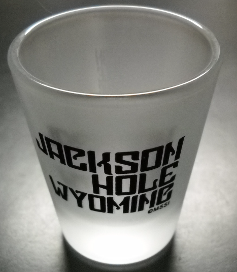 Jackson Hole Wyoming Shot Glass Frosted Glass with Black Print MSSI Copyright