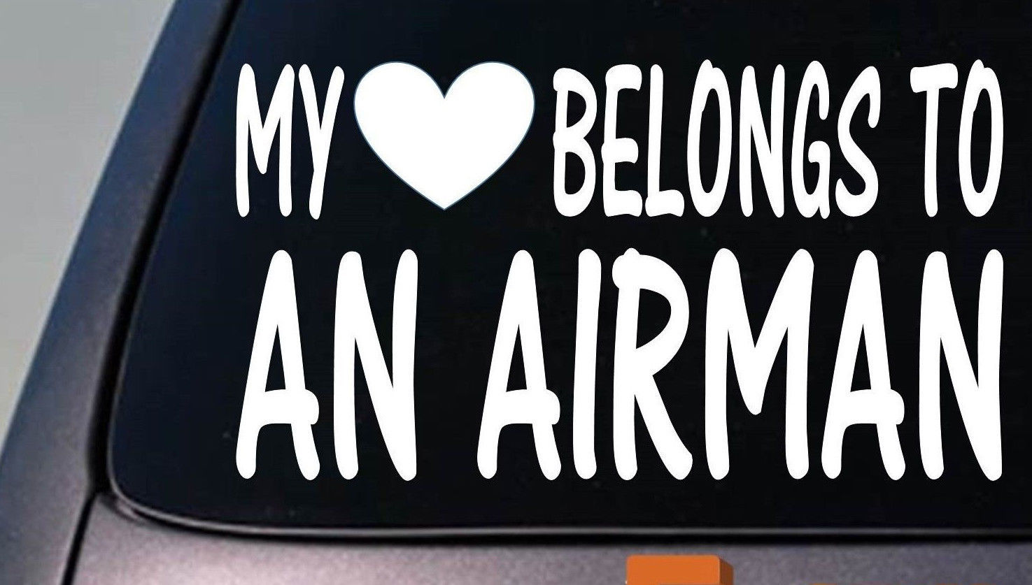 My heart belongs to an airman sticker decal  *D835*