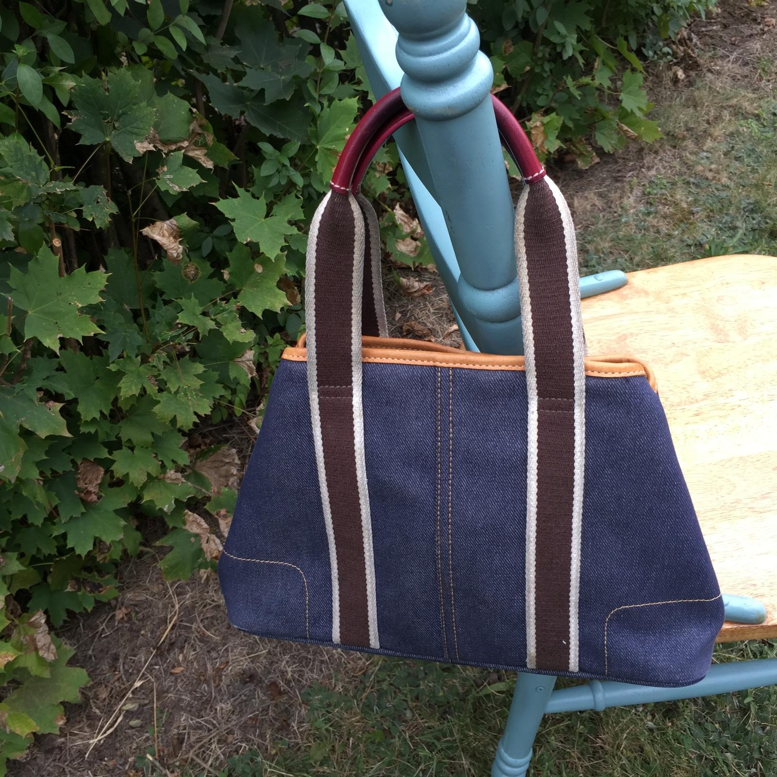 coach Hampton navy denim satchel handbag #7543