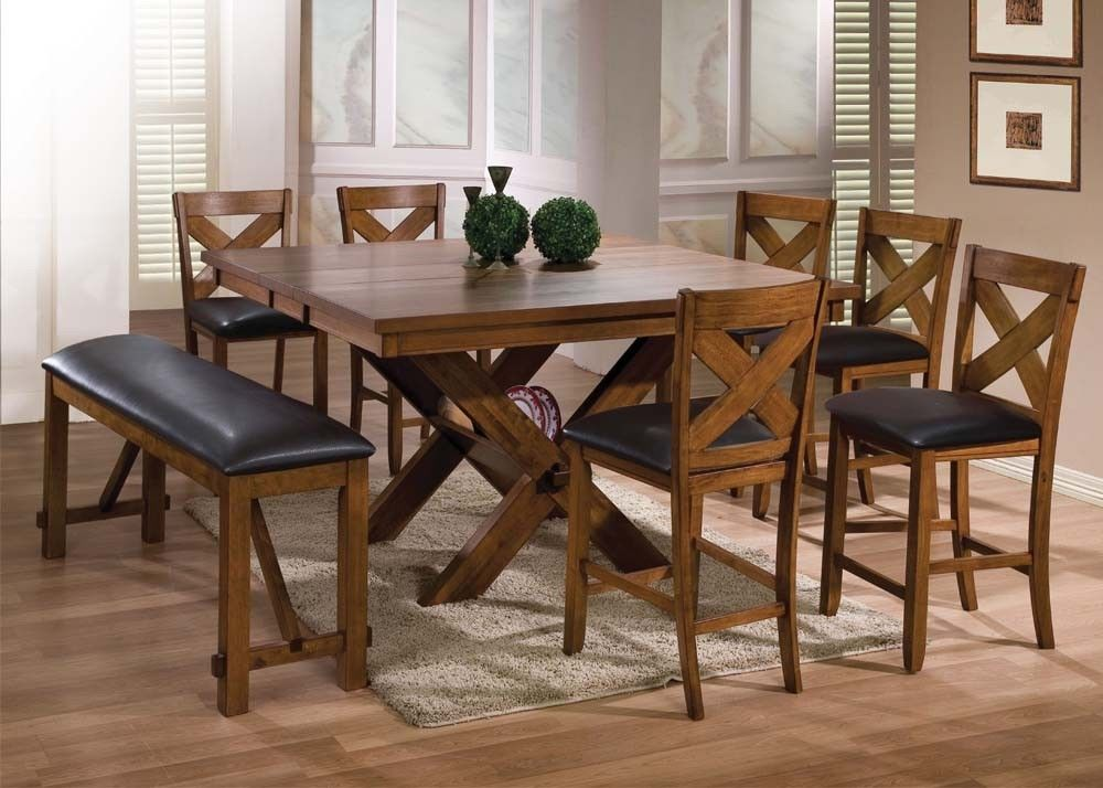 Acme 70005 Apollo Walnut Finish Counter Height Dining Table Set
