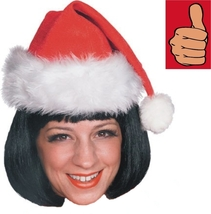 Christmas - Santa Claus Hat - Velvet - Set of 4 - Adult Unisex Mend Ladies Red - $10.72