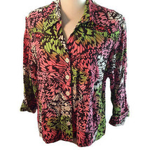 David N Monarch Butterfly Wing Collage Print Canvas Jacket Pink Green Black L/XL - $24.26