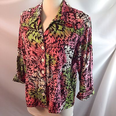David N Monarch Butterfly Wing Collage Print Canvas Jacket Pink Green Black L/XL
