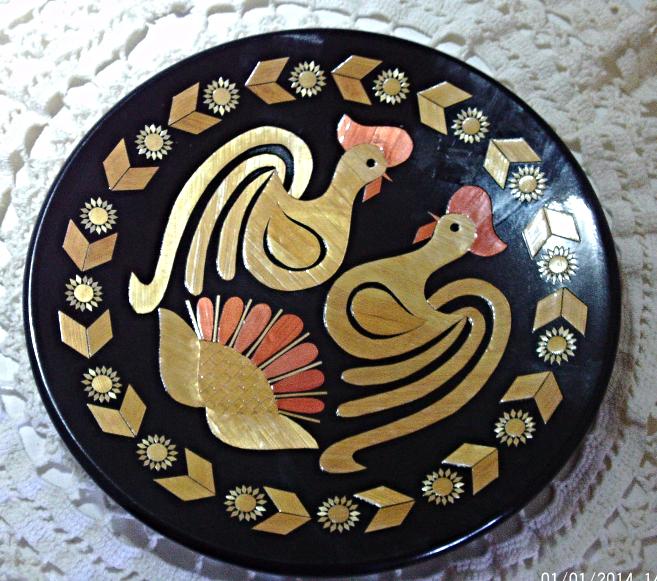 Unique Vintage USSR Russia Made Folk Art Inlaid Wood Chicken Plate