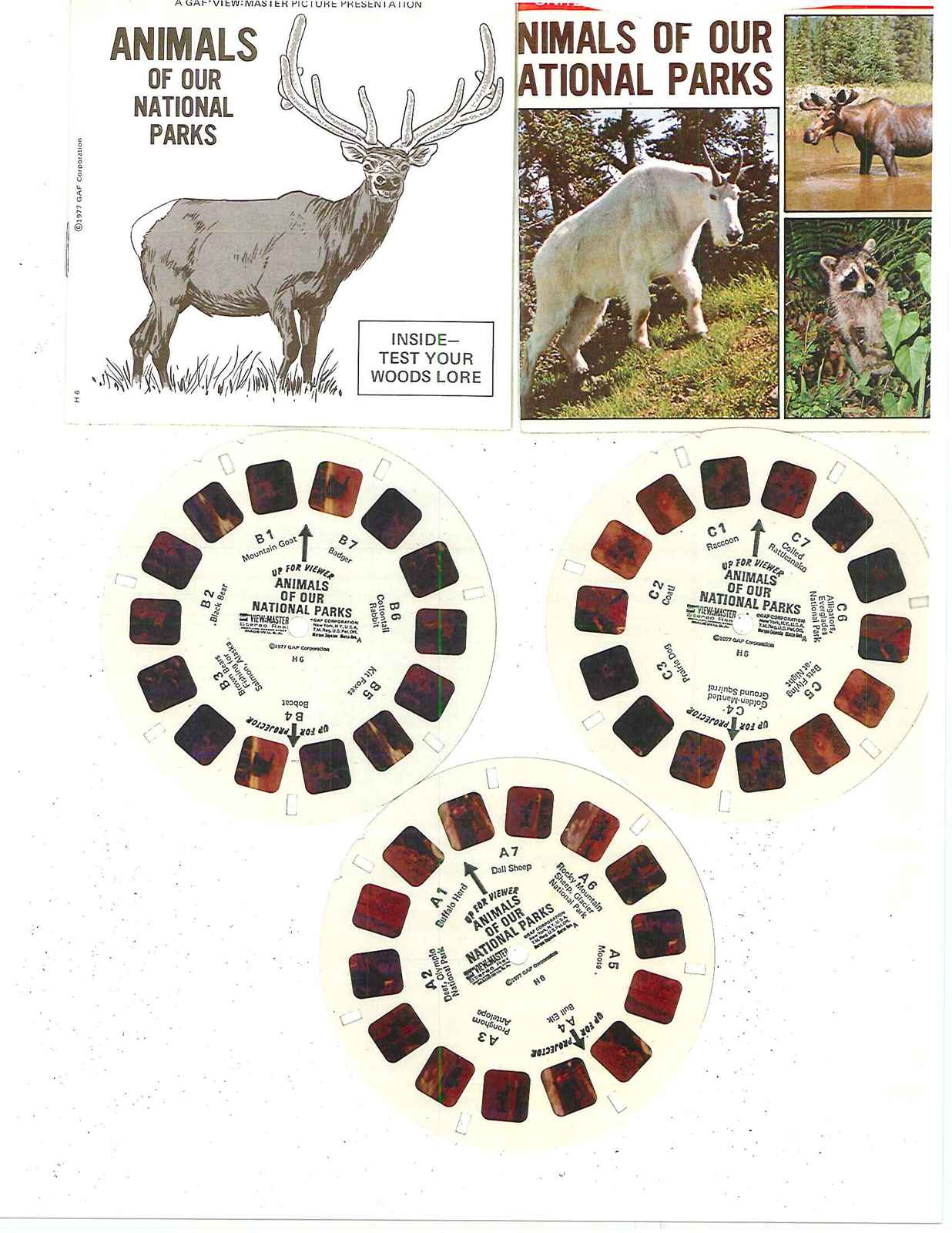 """VIEW- MASTER  1977   """"ANIMALS OF OUR NATIONAL PARKS"""" REELS  A-B AND C"""