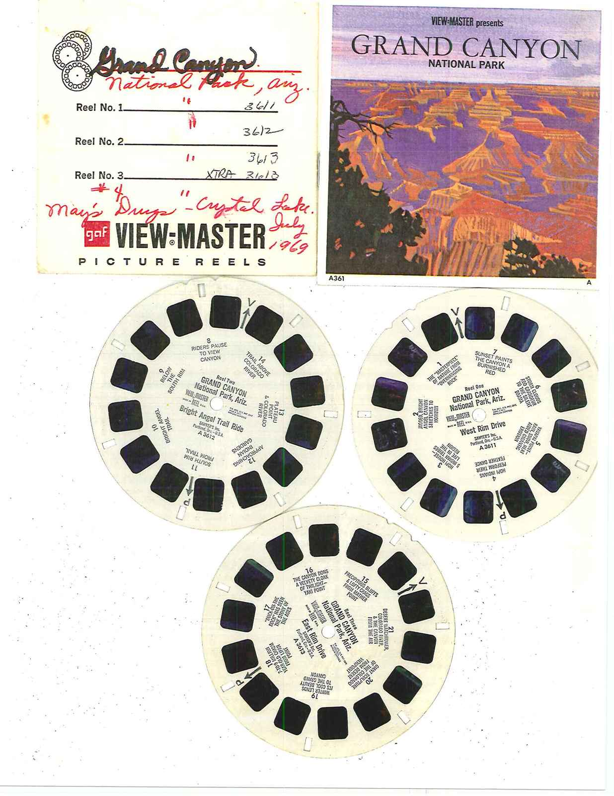 "VIEW MASTER   "" GRAND CANYON"" REELS 3611-3612-3613"