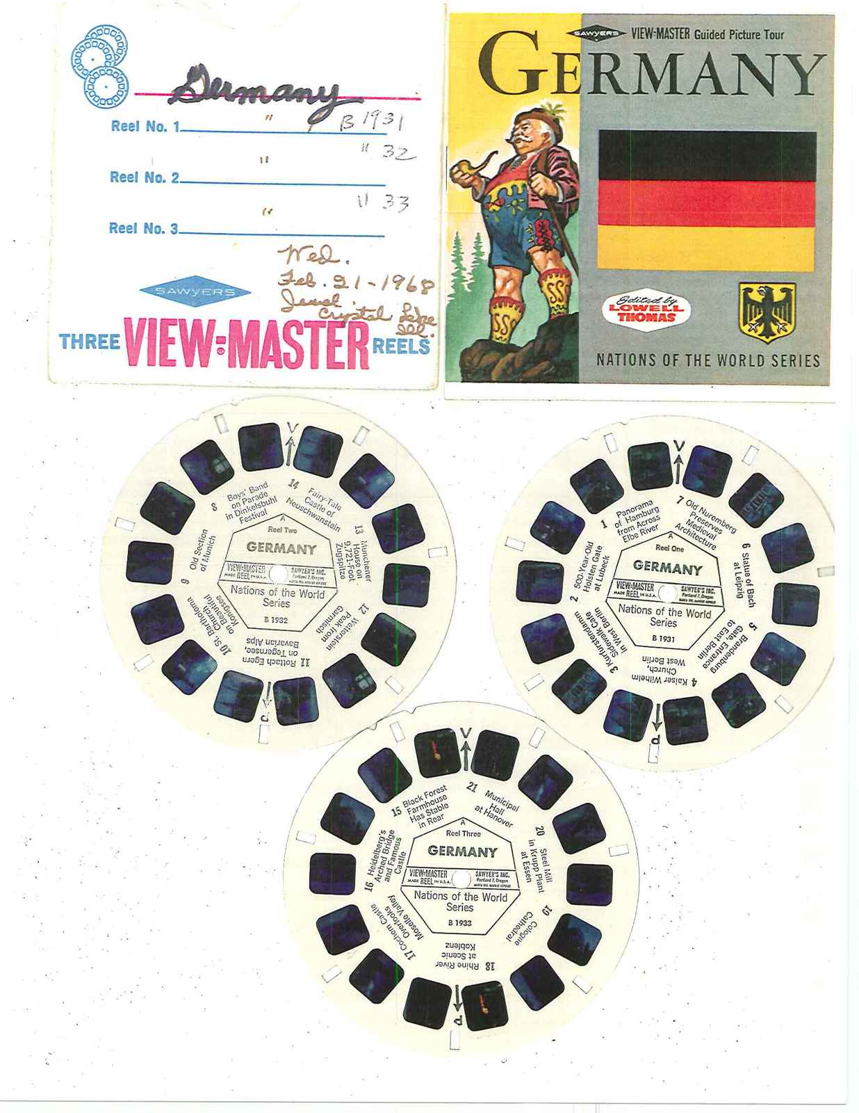 """VIEW MASTER   """" NATIONS OF THE WORLD SERIES   GERMANY""""  REELS  B 1931—B 1932---B"""