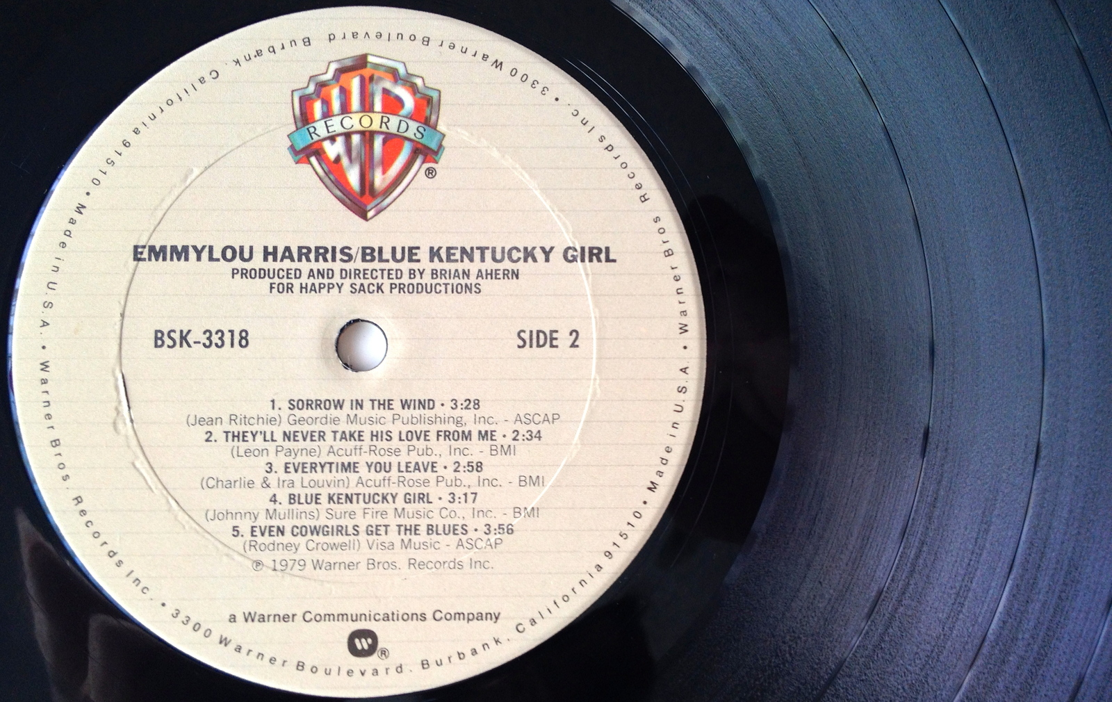 Emmylou Harris - Blue Kentucky Girl LP Vinyl Record Album, 1979